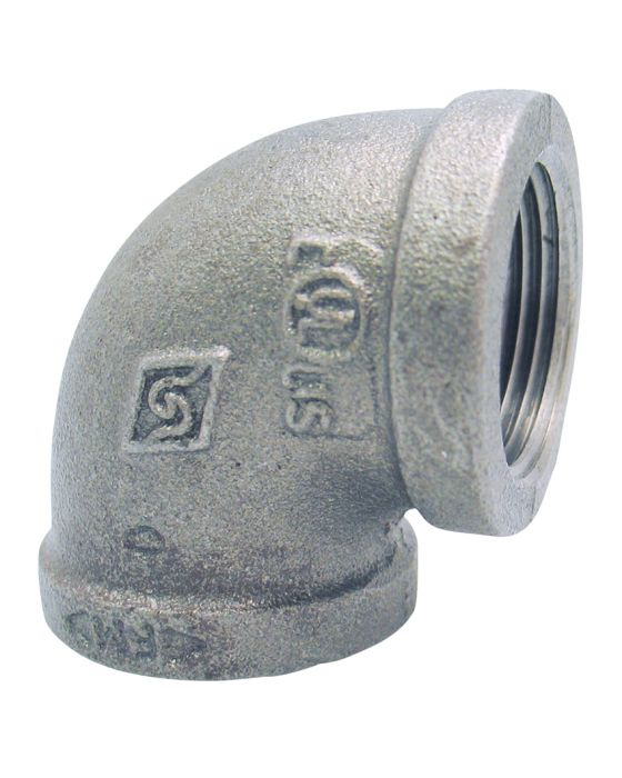 Connector 90° elbow - galvanized malleable iron - lead-free